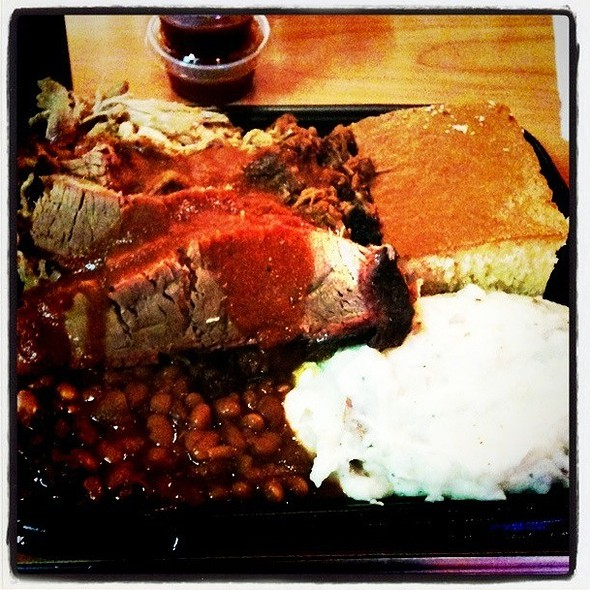 Pulled Pork, Brisket, And Burnt Ends With Mashed Potatoes And Baked Beans