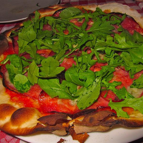 Pizza Rustica - San Marzano Tomato Sauce, Fior di Latte Mozzarella, Gorgonzola, Salame Toscano, Arugula - Baonecci Ristorante, San Francisco, CA