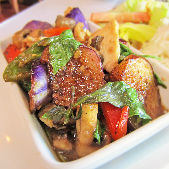 Stir Fried Chicken and Eggplant - Thaiphoon Restaurant, Palo Alto, CA