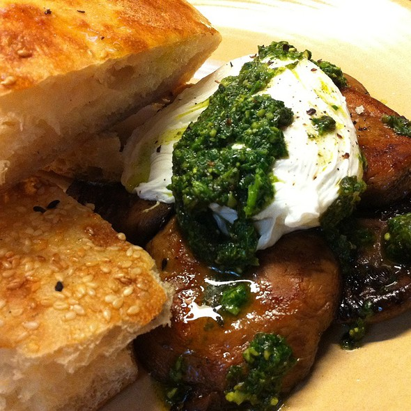 Thyme And Garlic Roasted Mixed Mushroom, Basil Pesto, Poached Fr Egg, Turkish Bread @ 7 Seeds Specialty Coffee
