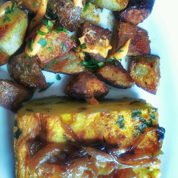 Grilled Onion And Goat Cheese Frittata With Homefries  @ One Shot Coffee