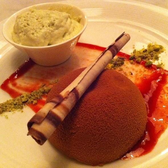 Chocolate & Strawberry Mousse Dome W/ Pistachio Espuma @ Koko Black