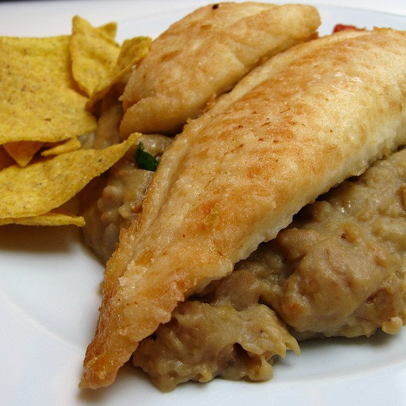Fried Fillet of Tilapia with Avocado Dip, Plantain Puree and Tortilla Chips @ Paparazzi Restaurant