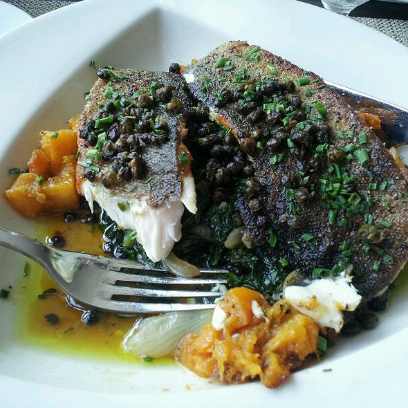Pan Seared Trout, Braised kale, Butternut Squash, Brown capers @ Henry's on the Hudson