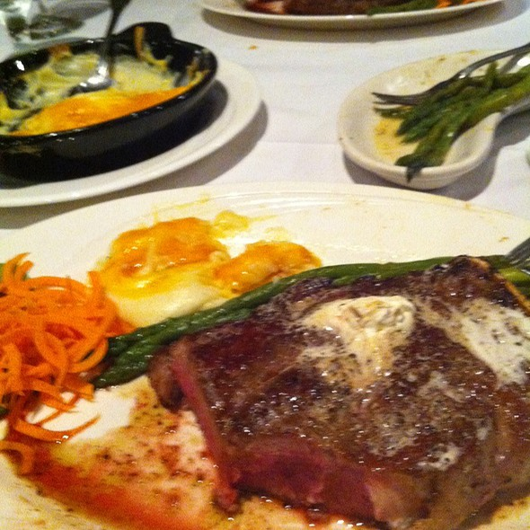 St. Louis Style Bone-In Steak W/Mashed Potatoes And Asparagus - Arthur's Prime Steakhouse, Little Rock, AR