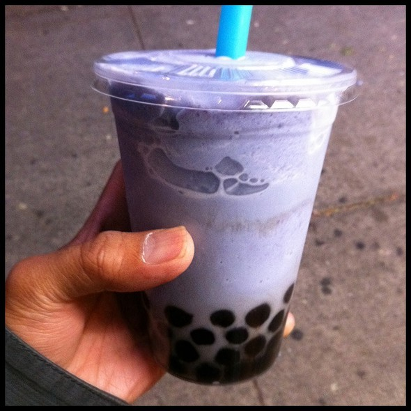 Ube Ice Cream Bubble Tea With Pearls @ Green Leaf Bubble Tea