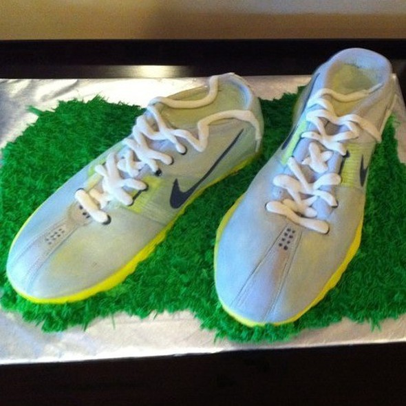 Red Velvet Sculpted Running Shoes Layered With Cream Cheese Icing And Covered In Fondant