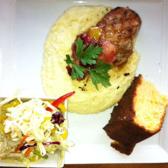Broiled Pork Loin Chop W/Apples And Cheese Grits And Pepper Slaw And Sweet Cornbreaf - Triangle Grille, Lexington, KY
