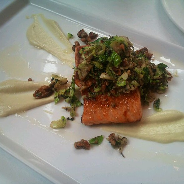 Salmon, Picked Edeame And Sunchoke Puree, Brussel Sprouts And Walnuts. @ Atwood