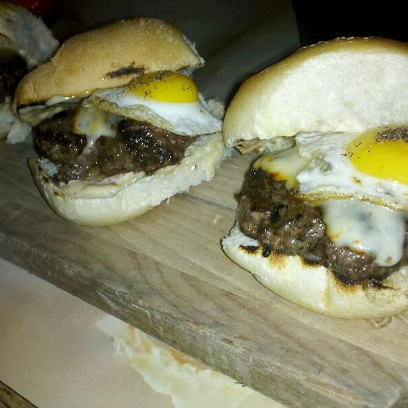 Kobe Sliders With Quail Egg And Bacon Aioli - Lucky's Lounge, Boston, MA