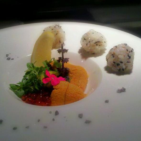 Uni Sashimi w/ Ikura & Quail Egg  @ Umai Umai