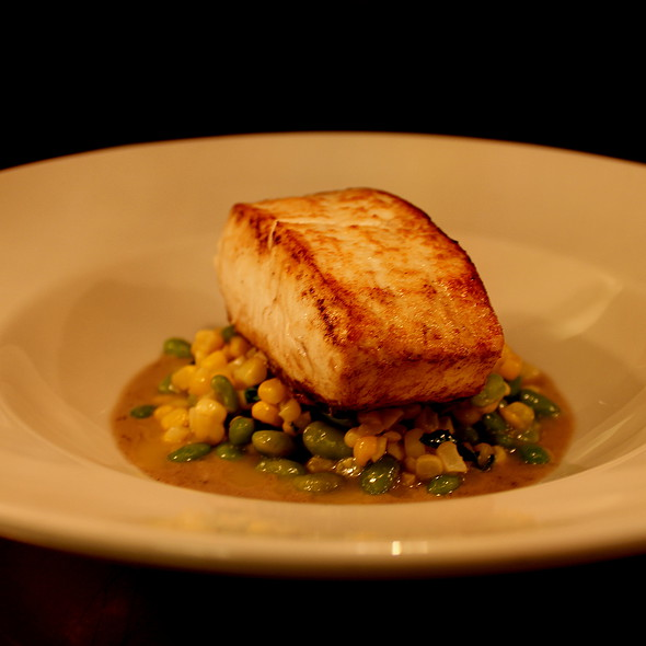 Roasted Halibut with Sweet Corn, Soybeans & Summer Truffle Sauce @ The Grill On Pantigo