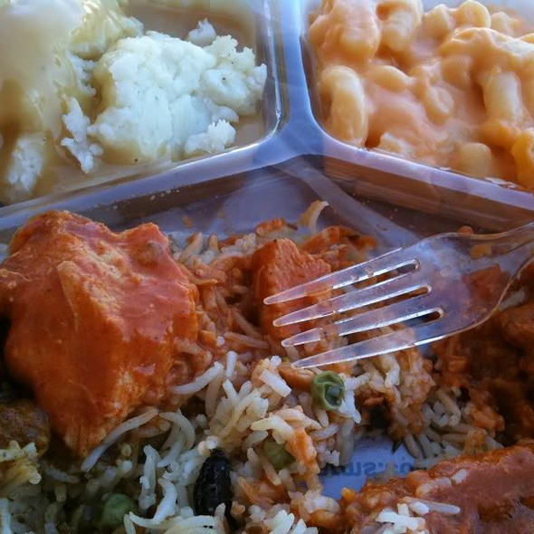 Macaroni and Cheese, Mashed Potatos, Rice/Peas, Chicken Tikka Masala, Channa