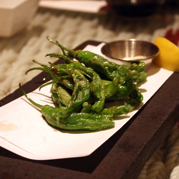 Flash fried shishito peppers with yuzu salt @ Ippudo