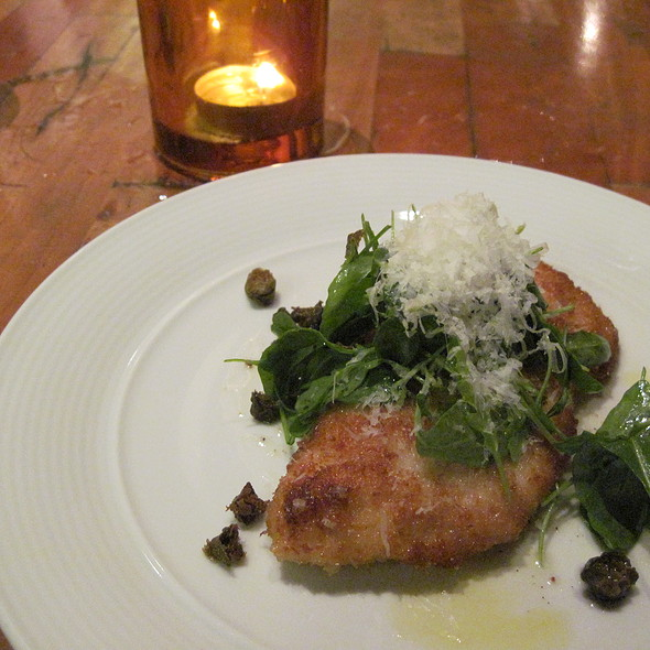 "Chicken ""picatta,"" arugula, crispy capers, parmesan @ Livello Pop-up at Breadbar"
