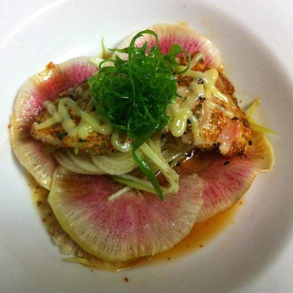 Passmore Ranch Sturgeon Sashimi With Watermelon Soy Sauce And Wasabi Aioli  @ Corner Bar