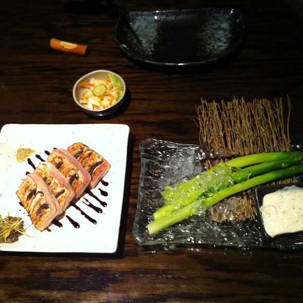 Unagi & Shitake Bacon Wrap and Cold Asparagus w/ Mentaiko Dipping Sauce @ Sumika