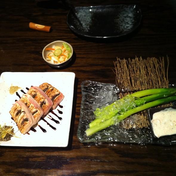 Unagi & Shitake Bacon Wrap and Cold Asparagus w/ Mentaiko Dipping Sauce @ Sumika