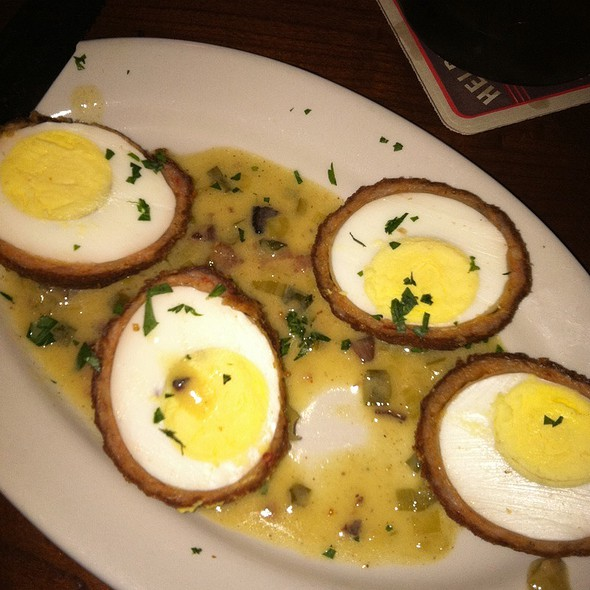 Scotch Eggs (Eggs Wrapped In Chorizo Deep Fried In A Bacon Butter Sauce) @ Standard Tap