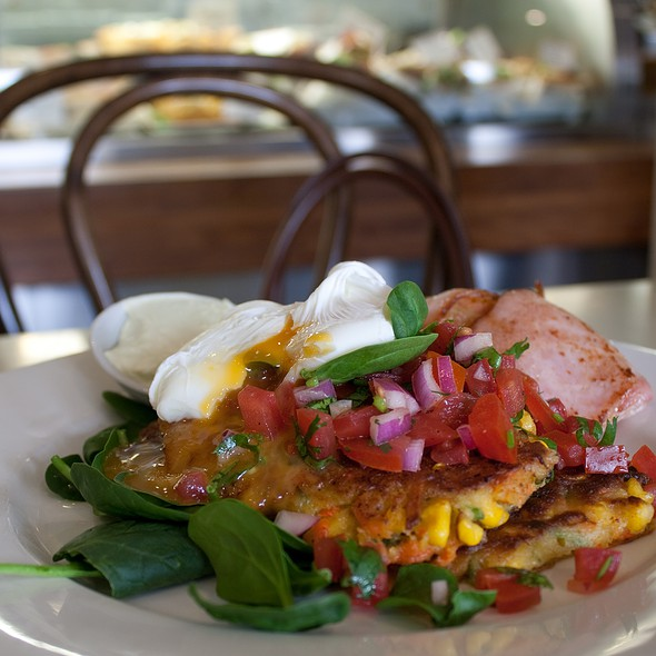 Corn cake stack with bacon @ Clodeli Fine Foods