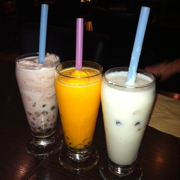 Red bean, mango and coconut bubble tea @ Restaurant A. Fusion