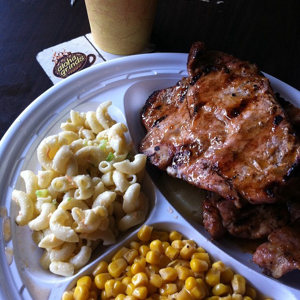 Pineapple Pork Chops Mixed Plate @ Aloha Grinds Coffee House and Hawaiian BBQ
