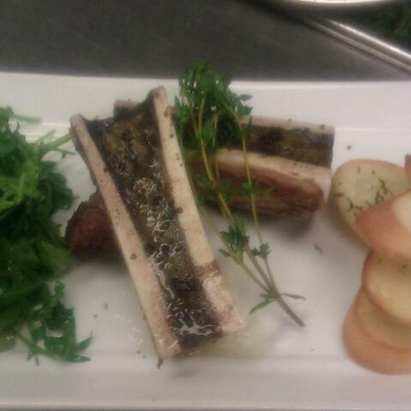 Roasted Bone Marrow, Arugula Salad, Smoked Sea Salt - LUX Steakhouse + BAR94, Edmonton, AB
