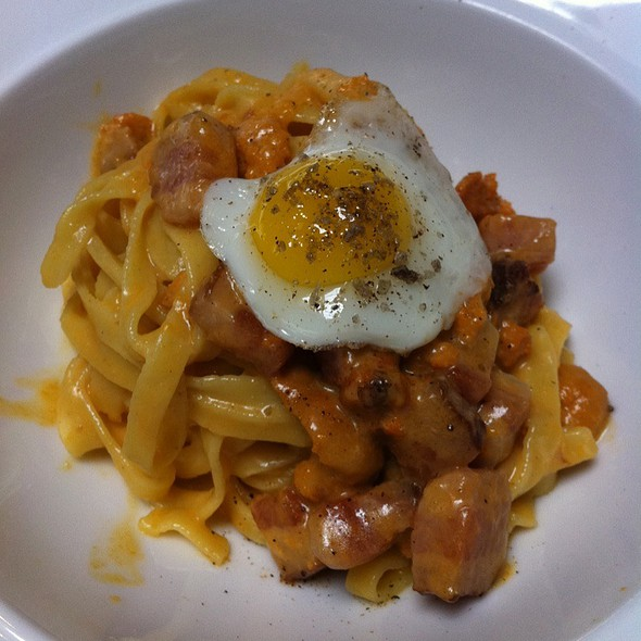 Smoked Fettuccine With Sea Urchin, Bacon And Quail Egg @ SPQR
