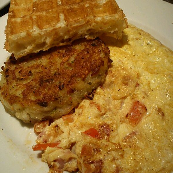 Ham & Cheese Omelet with Hash Browns and Waffle @ Mosaic Cuisine & Cafe