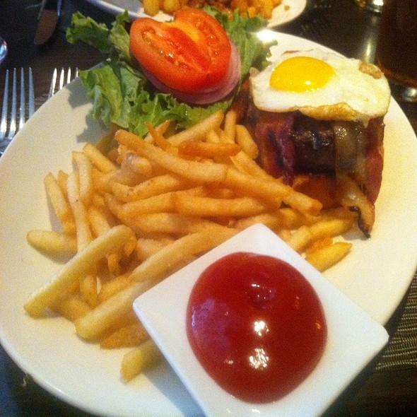 Abby Park Burger With Applewood Smoked Bacon And A Fried Egg - Abby Park, Milton, MA