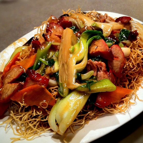 BBQ Pork Pan Fried Crispy Noodle @ First Chinese B-B-Q