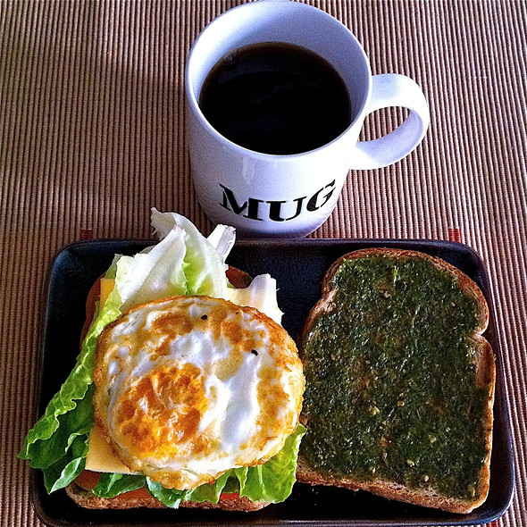 Basil Pesto and Egg Sandwich @ Home