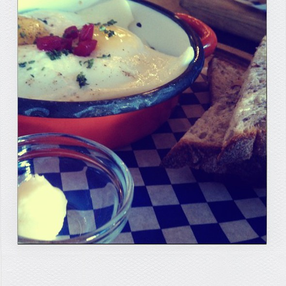 Smoked trout hash with poached eggs @ Broder Cafe