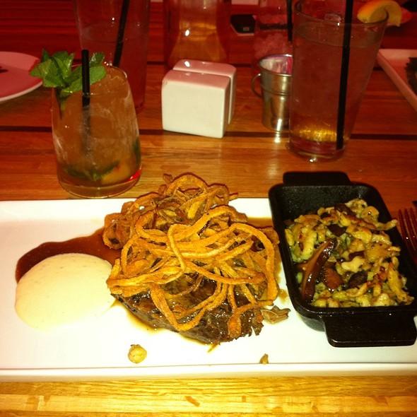 Braised Shortrib With Mushroom Spaetzle And Horseradish Creme - Pura Vida  by Brandt, Cleveland, OH