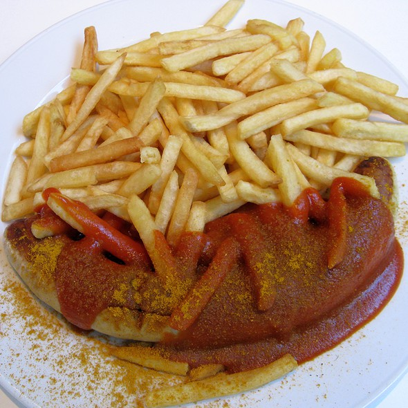 Currywurst With Fries @ Paparazzi Restaurant