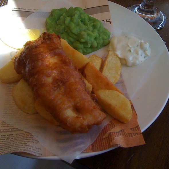 Beer-Battered Hake With Chips And Mushy Peas @ The Narrow - closed