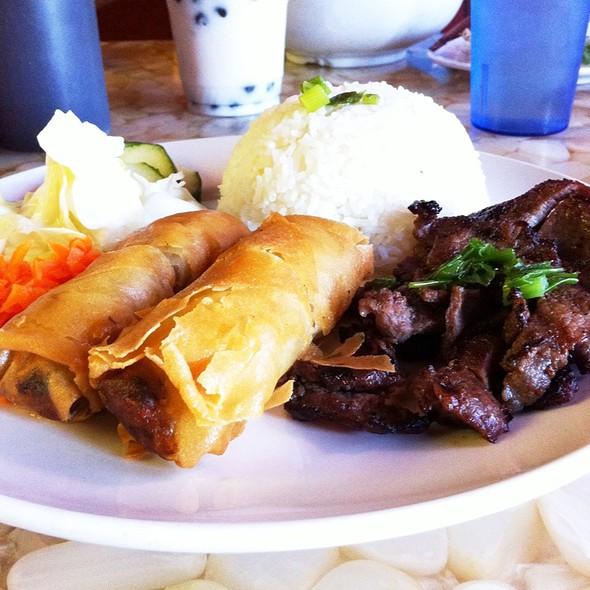 Grilled Beef, Pork Egg Rolls And Rice @ Tea Light Cafe