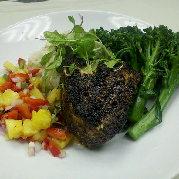 Jerk Swordfish With Pineapple Salsa, Jasmine Rice And Broccolini @ 88 Wharf Riverfront Grill