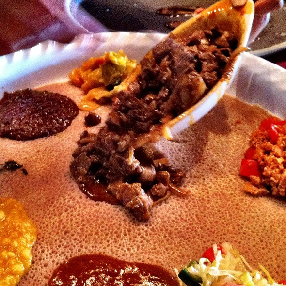 Lamb Awaze Tibs and Special Veggie Combo @ Meaza Restaurant