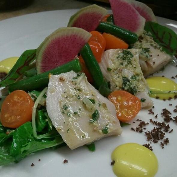 Tuna Confit Salad with Rainbow Radishes, Aioli and Olive Salt @ FIVE Modern American Bistro