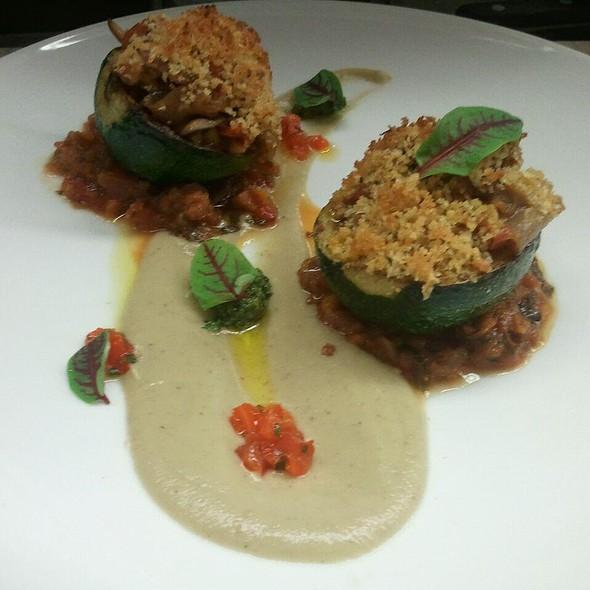 Stuffed Squash with Peppadew, Gremolata, Tomato ragout @ FIVE Modern American Bistro