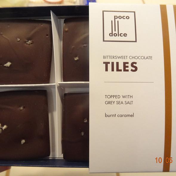 Burnt caramel tiles @ Poco Dolce
