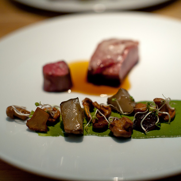 Lamb saddle, sunchokes and chanterelles, pistachio with horsegrass - Commis (Oakland), Oakland, CA