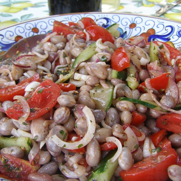 Cranberry Bean Salad with Cherry Tomatoes, Onions & Cucumbers @ La Tavola Marche Agriturismo Ca'Camone