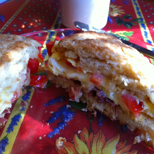Egg Sandwitch On A Homemade Biscuit With Red Peppers Cheddar Cheese And Priscuito  - Le Sorelle Porch and Pantry, Mount Gretna, PA