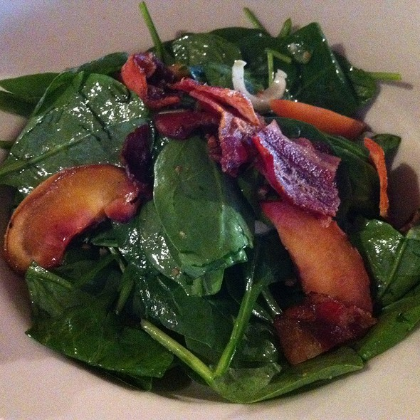 Grilled Nectarine & Belgium Endive Salad, Spinach, Shaved Red Pepper, Warm Rosemary Bacon Vinaigrette