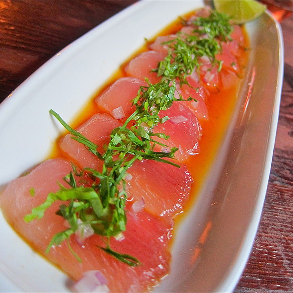 Mexican Sashimi/ tombo ahi tuna/ lime/ cilantro/ serrano chile/ red onion