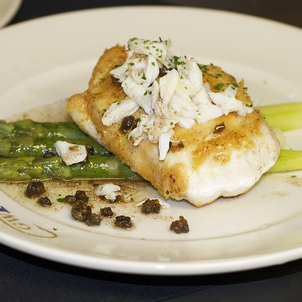 Parmesan Crusted Flounder with Jumbo Lump crab, asparagus, crispy capers, brown butter @ GW Fins