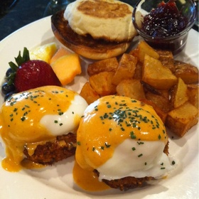 Poached Eggs on Crab And Scallop Cakes - Sacks Cafe and Restaurant, Anchorage, AK
