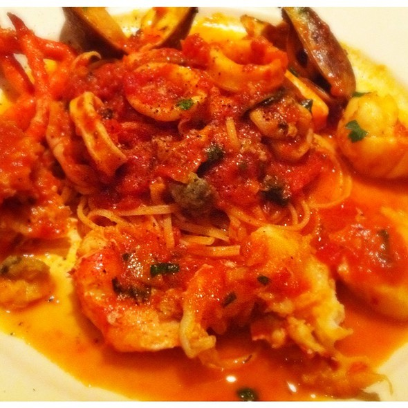 Gamberi Fra Diavolo Shrimps In A Spicy Marinara Sauce With Roasted Garlic And Olive Oil  - Rossini's Restaurant, New York, NY